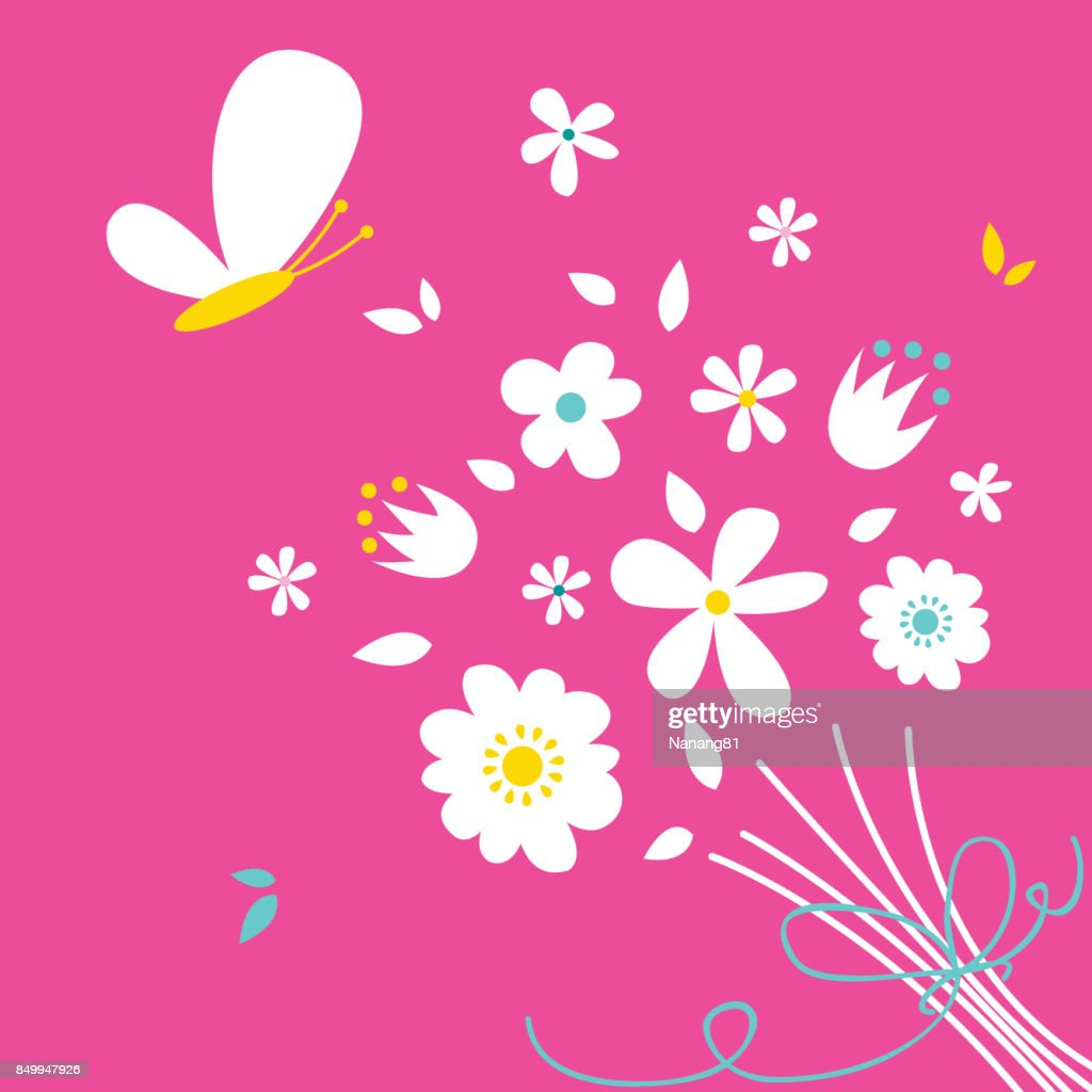 Cute Flowers Arrangement Above Pink Background Vector Art Getty Images