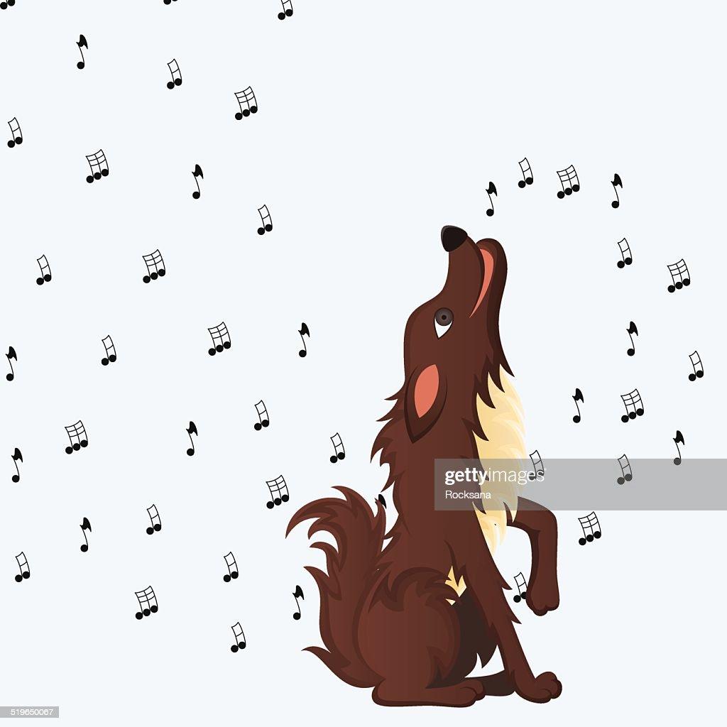 Cute fluffy cartoon dog howling