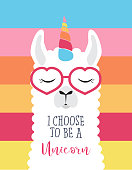 Cute fluffy unicorn llama (alpaca)