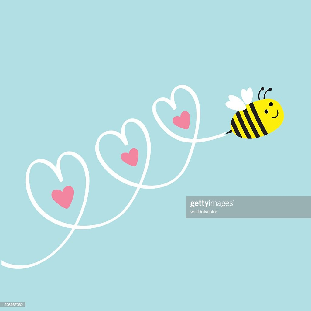 Cute flying bee. Three hearts in the sky. Flat