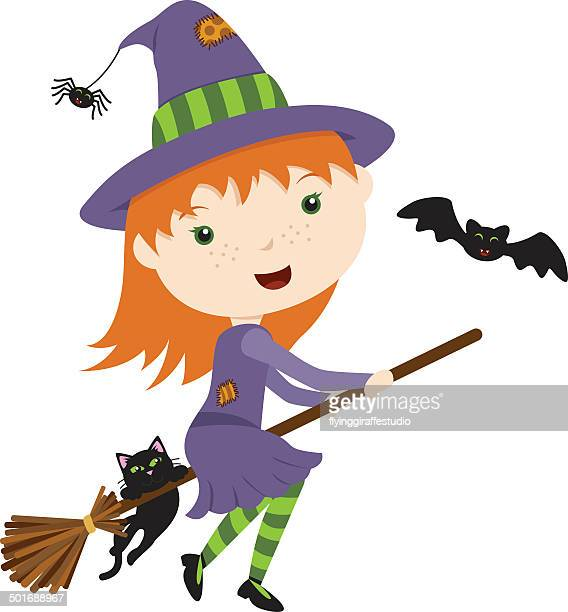 cute flying witch - broom stock illustrations, clip art, cartoons, & icons