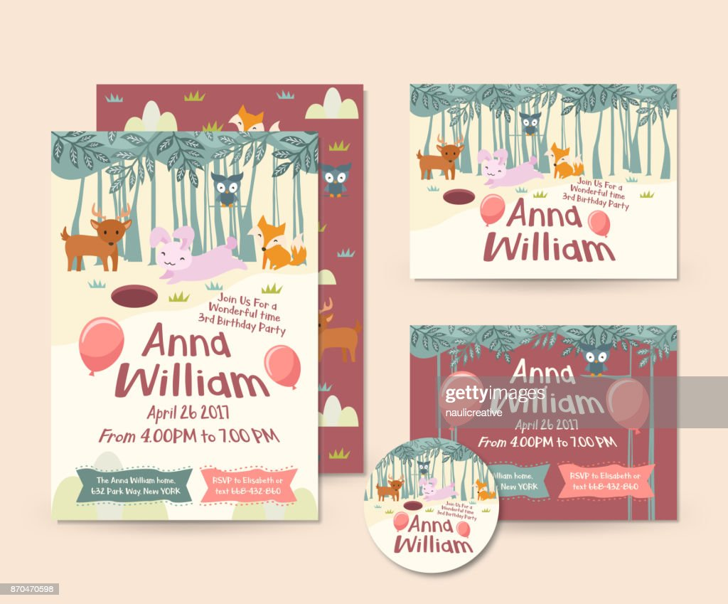 Cute Forest Animal Theme Happy Birthday Invitation Card Set And Flyer Illustration Template