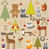 cute forest animals on light background