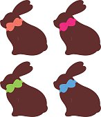 Cute four rabbit mix collection isolated on white