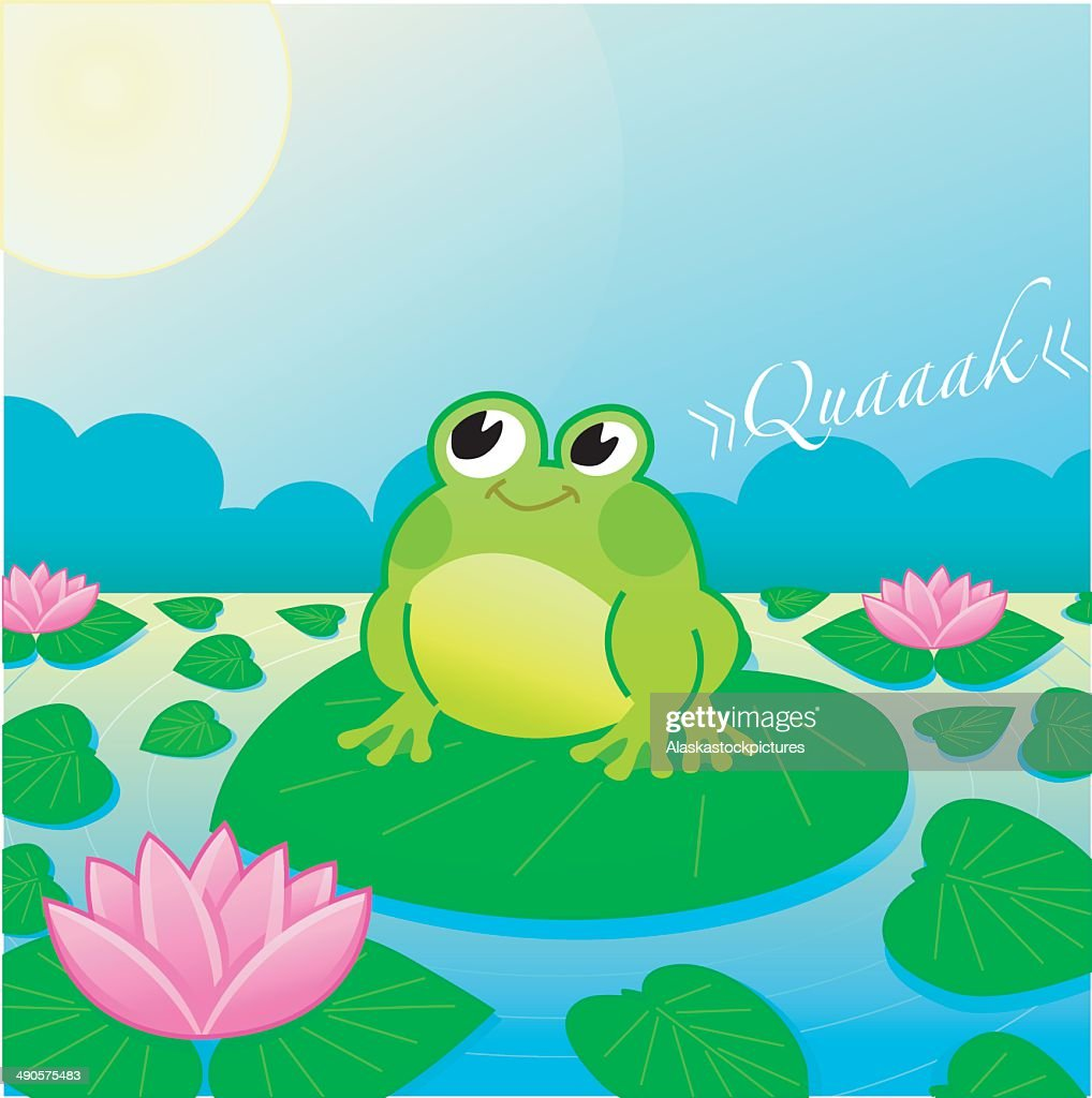 cute Frog on a lake with Searoses (moonshine).