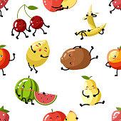 Cute fruit apple cherry watermelon kiwi strawberry lemon peach pear