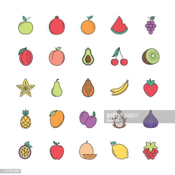 illustrations, cliparts, dessins animés et icônes de icône mignonne de fruit - fruit
