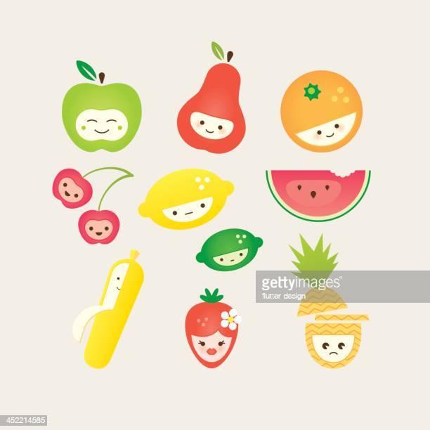 ilustrações de stock, clip art, desenhos animados e ícones de fofo de fruta - kawaii