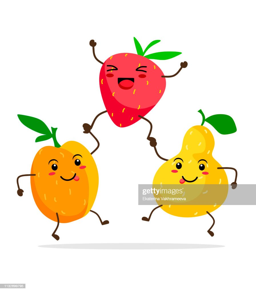 Cute fruits kawai apricot, pear, strawberry stand like a pyramid. Vector illustration of fruit for children and fun on a white background