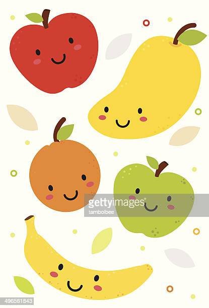 cute fruits - mango fruit stock illustrations, clip art, cartoons, & icons