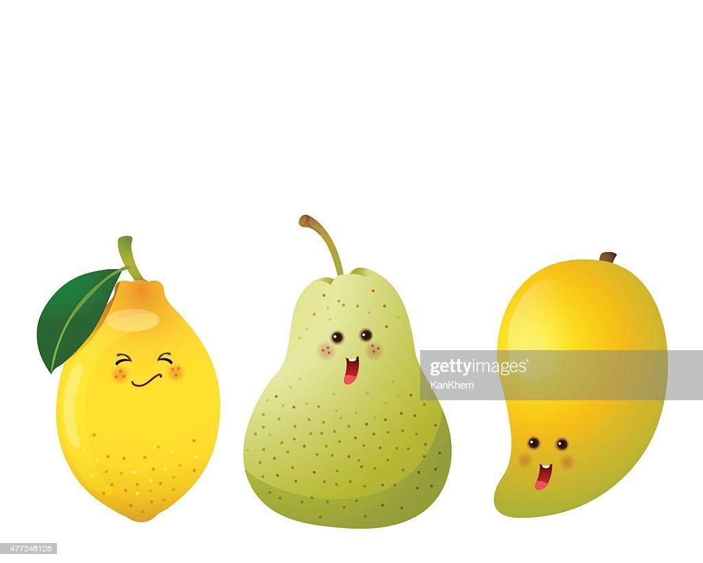 cute fruits-lemon, pear, mango