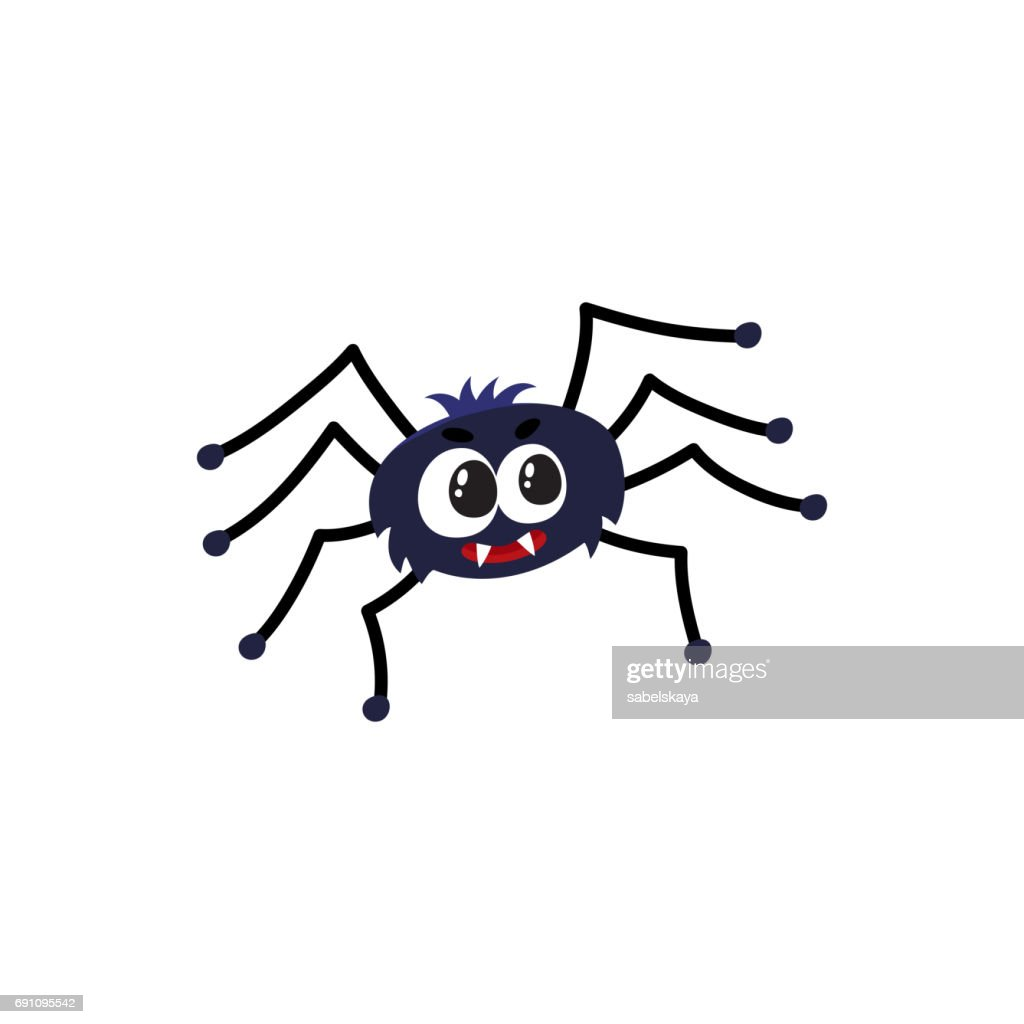 Cute, funny black spider, traditional Halloween symbol, cartoon vector illustration