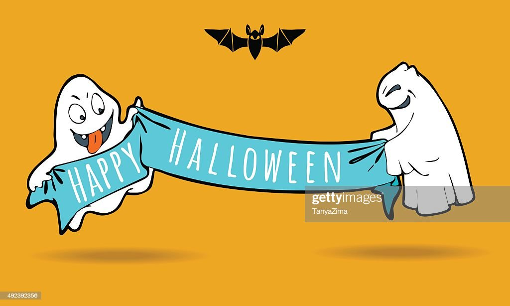 Cute funny ghosts with holiday banner. Vector illustration
