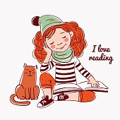 Cute, funny girl reads a book