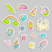 Cute funny Girl teenager colored stickers set, fashion cute teen and princess icons. Magic fun cute girls objects - unicorn, rainbows, pizza, crown, cats, stars and other draw teens icon patch collection.
