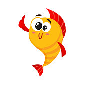 Cute, funny golden, yellow fish character with human face giving thumb up