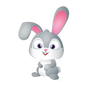 Cute Funny Gray Bunny Smiling