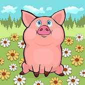 Cute funny pig hand drawing, vector cartoon illustration, poster, banner, card, cover. Colorful painted comical sweet piggy sitting on a flower meadow against the background of the summer forest