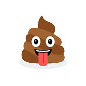 Cute funny poop set. Emotional shit icons