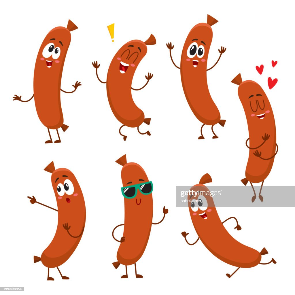 Cute, funny sausage characters with human face showing different emotions