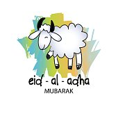 Cute funny Sheep, Vector illustration for Muslim Community, Festival of Sacrifice, Eid-Al-Adha Mubarak.