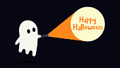 Cute ghost character just found the Happy Halloween message with his flashlight