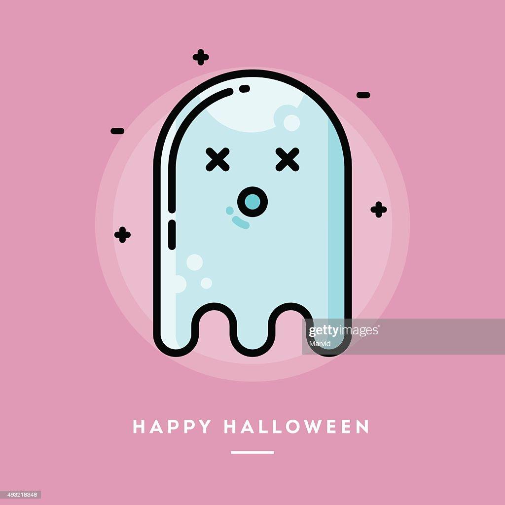 Cute ghost, flat design thin line halloween banner