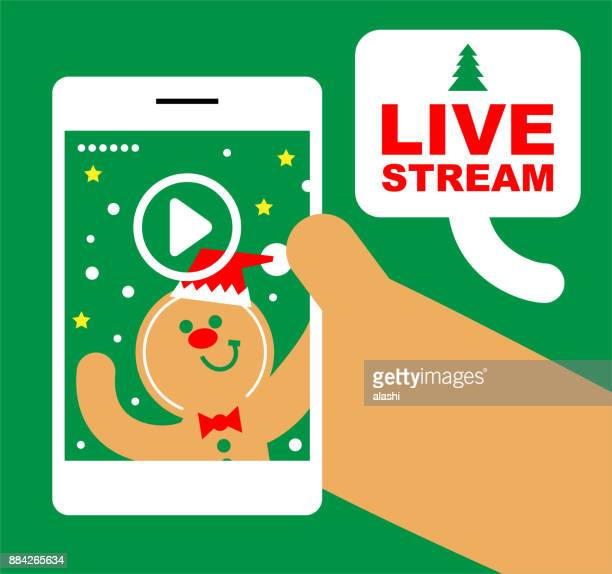 Cute Gingerbread Man Live streaming, Merry Christmas and New Year Greeting