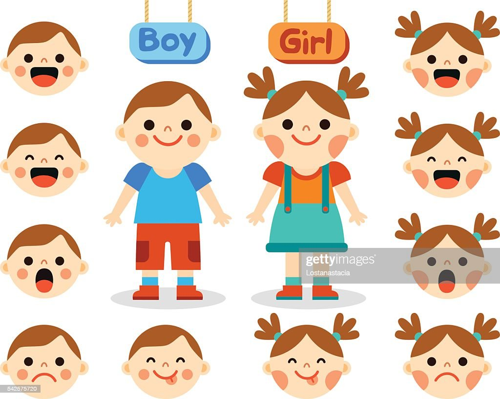 Cute girl and boy with faces showing different emotions