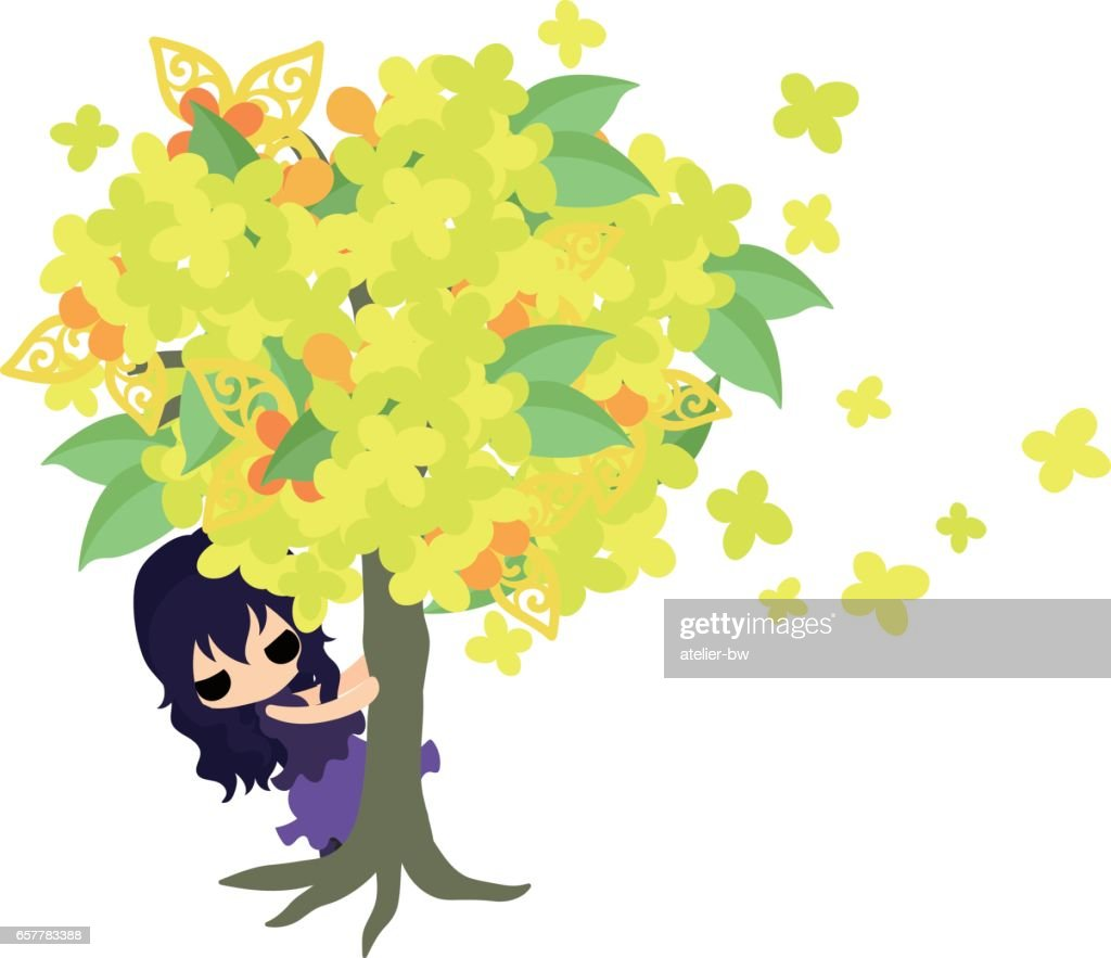 Cute girl and yellow flowers vector art getty images cute girl and yellow flowers vector art mightylinksfo