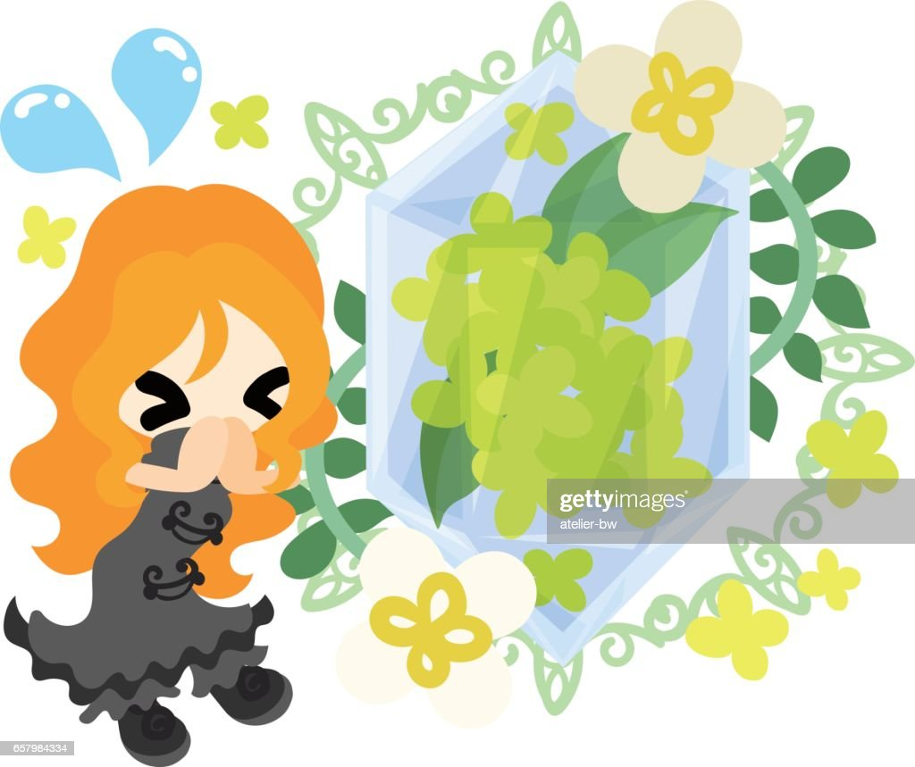 Cute Girl And Yellow Flowers Vector Art Getty Images