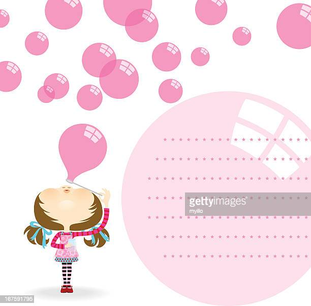 Cute girl blowing bubbles. Invitation, greeting card
