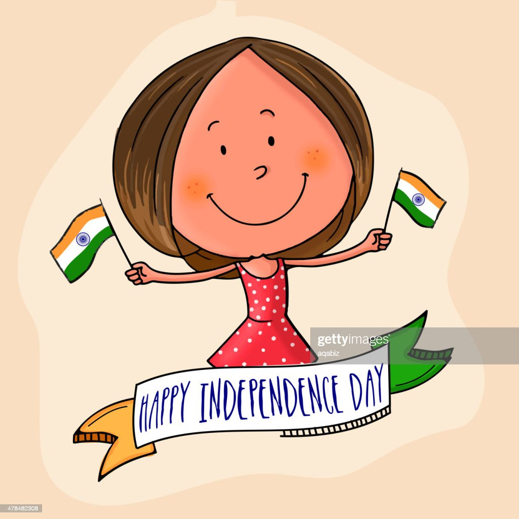 Cute girl celebrating Indian Independence Day.
