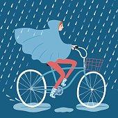 Cute girl cyclist under the rain vector illustration