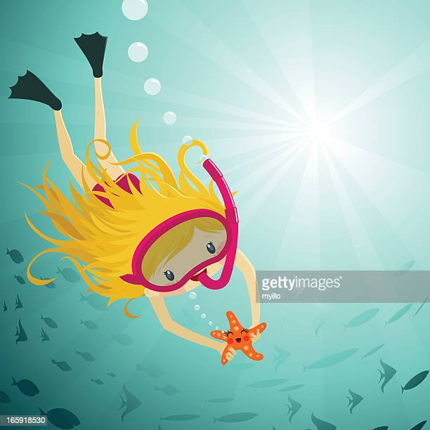 cute girl diving snorkel underwater starfish fishes illustration vector