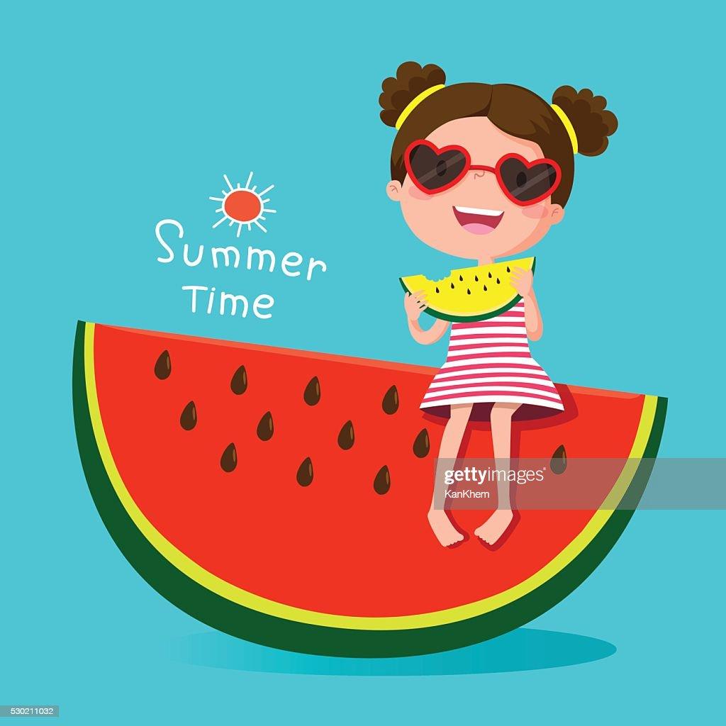 Cute girl eating watermelon