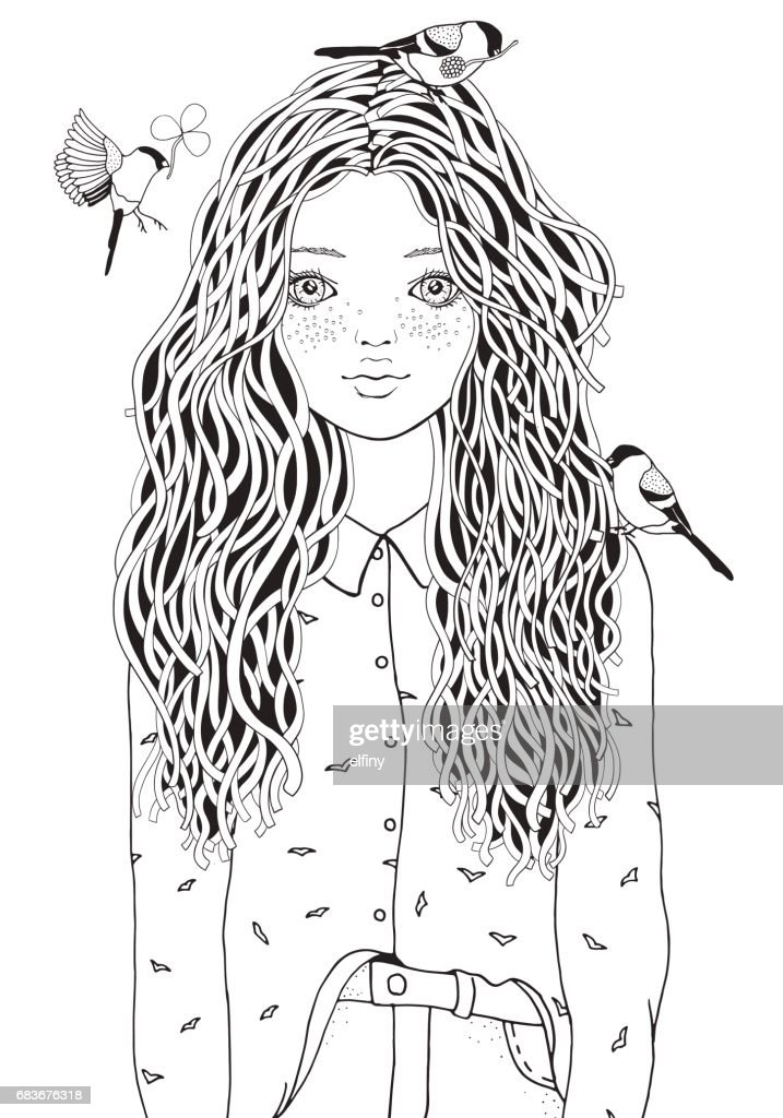 Cute girl in a shirt. The birds are flying. Coloring book page for adult. Black and white. Doodle style.