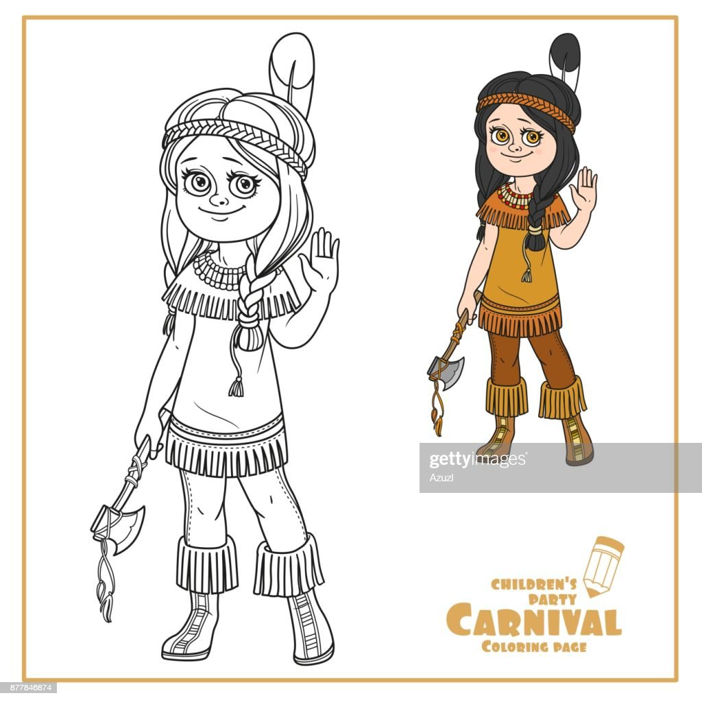 Cute Girl In Indian Costume Color And Outlined For Coloring Page ...