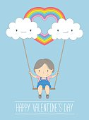 Cute girl in love on a swing - Vector Illustration