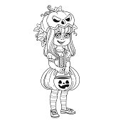 Cute girl in pumpkin costume with a pumpkin bag for sweets trick or treat outlined for coloring page