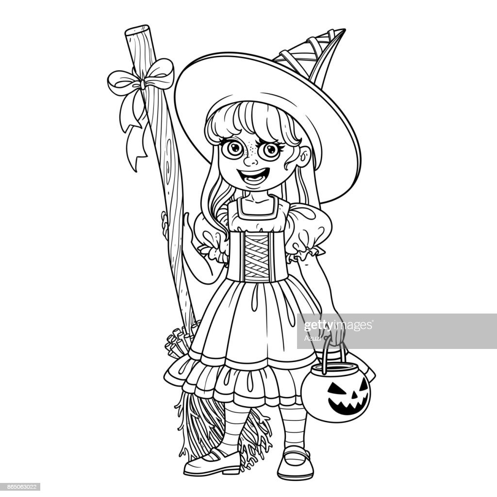 Cute girl in witch costume holding a pumpkin bag for sweets  trick or treat outlined for coloring page