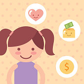 cute girl love money campaign donate charity