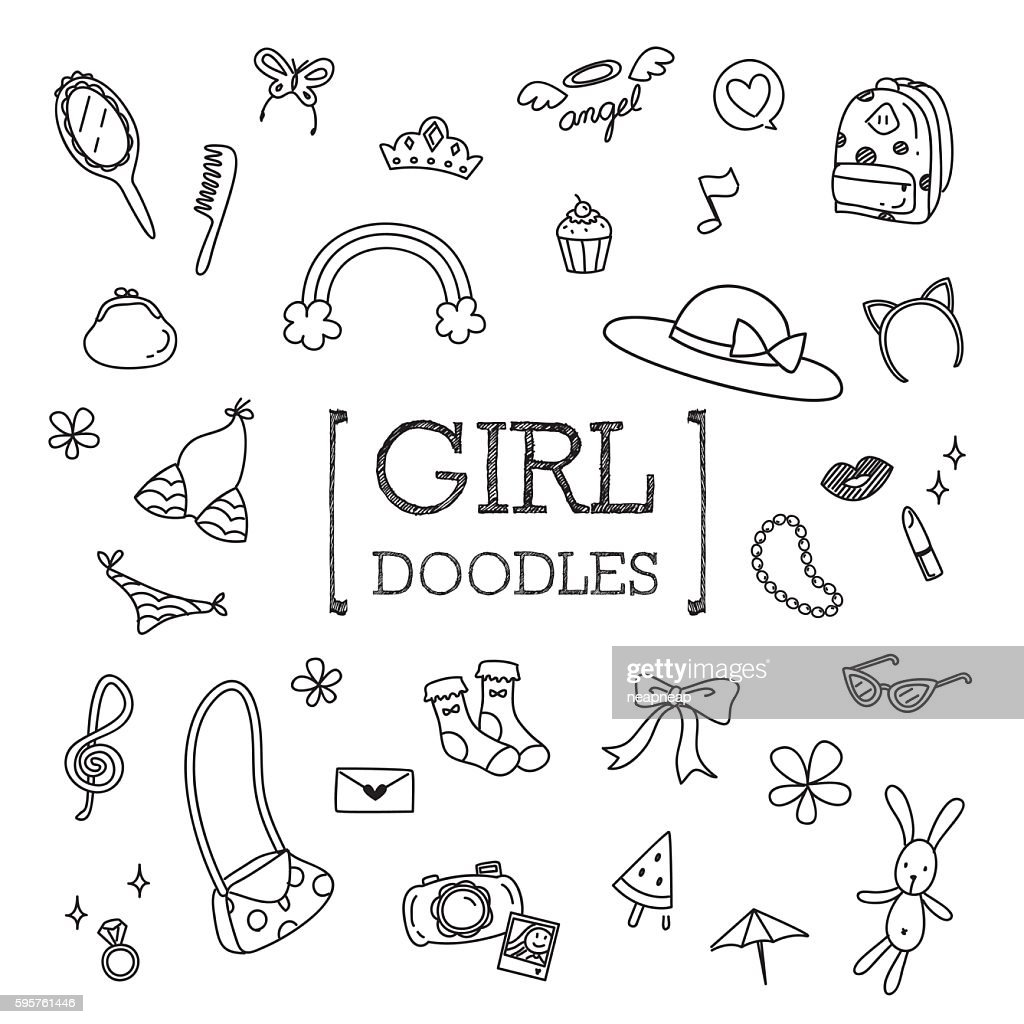 Cute Girl objects Doodles
