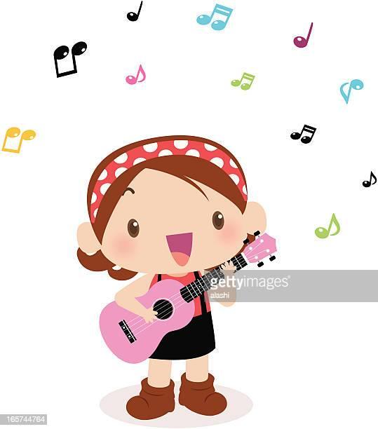 ilustraciones, imágenes clip art, dibujos animados e iconos de stock de linda chica tocando guitarra (ukulele de) y cantar - puntear un instrumento