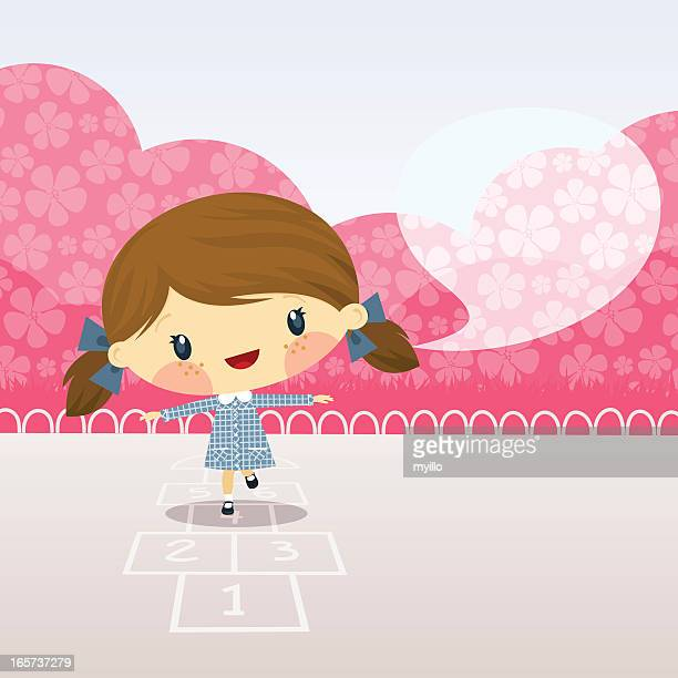 cute girl playing  hopscotch. schoolgirl illustration vector cartoon happy - school uniform stock illustrations, clip art, cartoons, & icons
