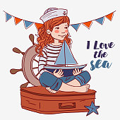 Cute girl sitting on a suitcase and playing with toy sailing boat. Travel vector concept