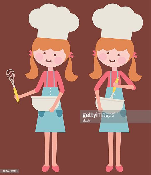 cute girl stirring with whisk - egg beater stock illustrations, clip art, cartoons, & icons