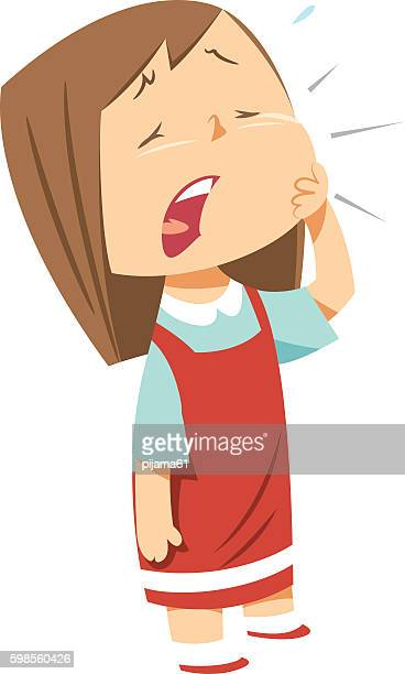 ilustraciones, imágenes clip art, dibujos animados e iconos de stock de cute girl toothache - dolordemuelas