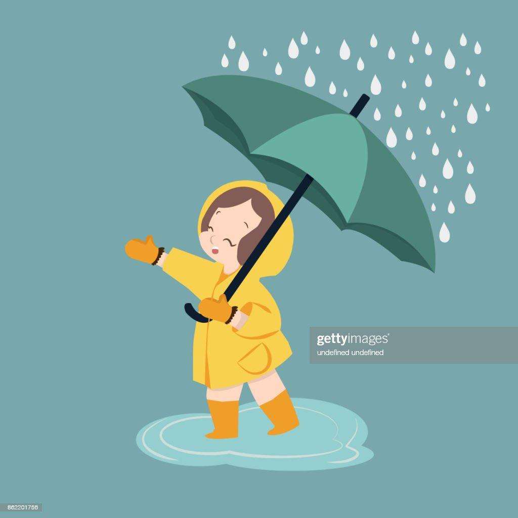 cute girl umbrella in rainy season