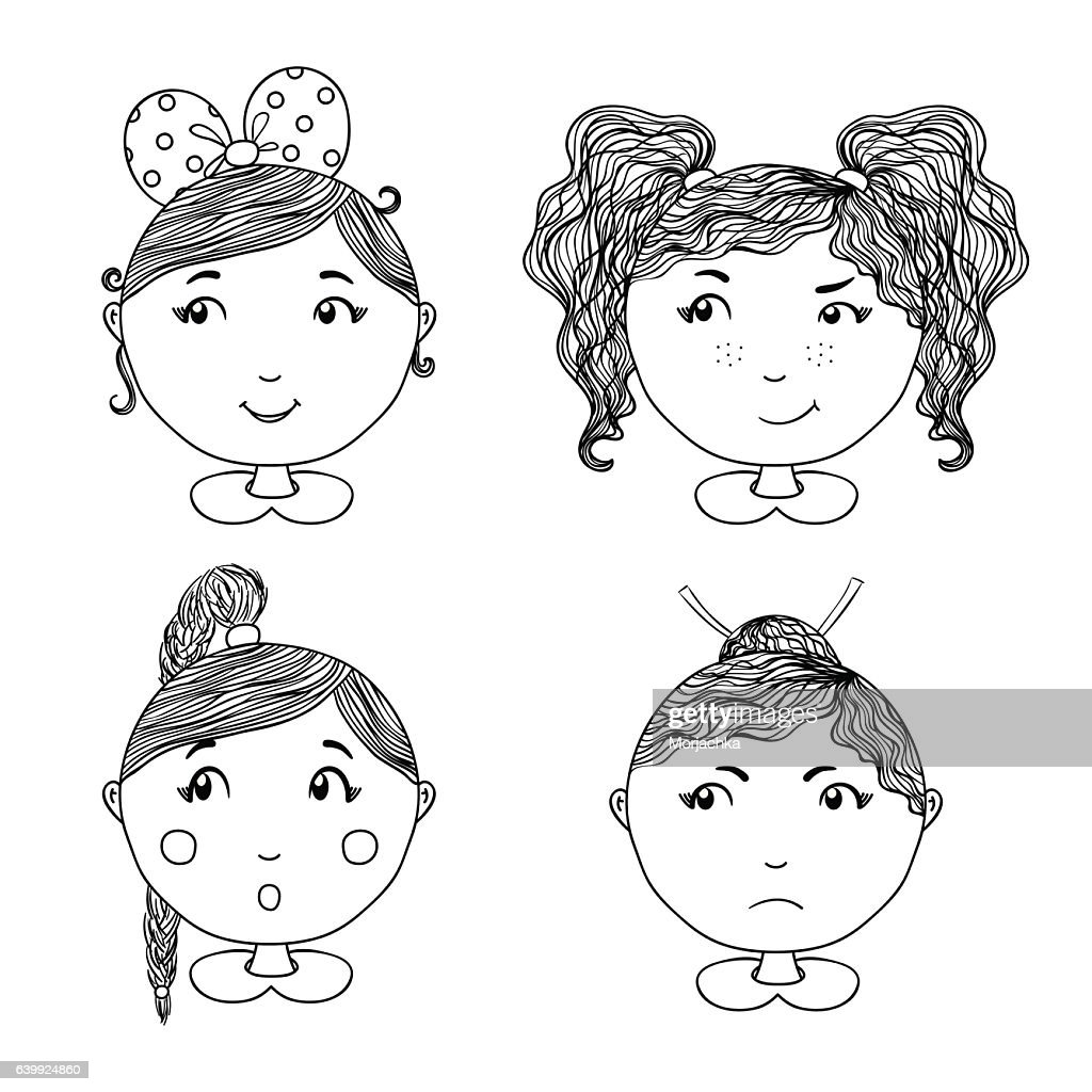 Cute girl vector icons set . Hand drawn illustration for apparel